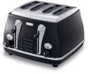 delonghi 4 schlitz toaster cto4003 bk icona. Black Bedroom Furniture Sets. Home Design Ideas